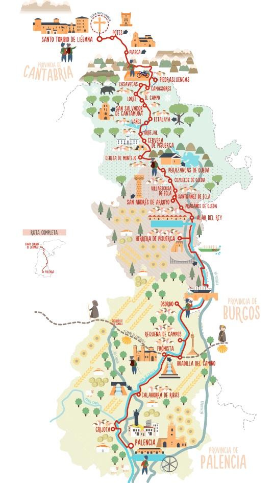 Mapa Camino Lebaniego Palencia
